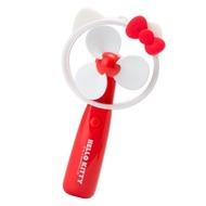 小禮堂 Hello Kitty 軟葉片大臉造型電池式隨身風扇《白紅》手握扇.手持電風扇