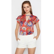 Express Blouse For Women Keyhole Oriental Red