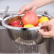 【PUSH!】廚房用品加厚304不鏽鋼瀝水盆水果盤洗菜籃子瀝水籃洗米淘米盆(D189)