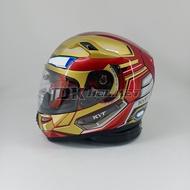 Full Face Helmet KYT K2R K2 Rider Marvel Edition Iron Man Ironman Red Maroon Gold Double Visor