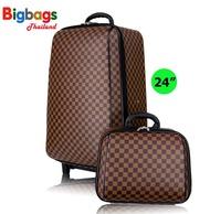 Bigbagsthailand กระเป๋าเดินทาง ล้อลาก MZ Polo  4 ล้อคู่หลัง เซ็ทคู่ 24 นิ้ว/14 นิ้ว รุ่น New luxury 72824 (Brown)