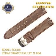 21 mm Dark Brown Leather Swatch Strap