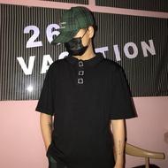 polo衫 韓國INS偽裝是紐扣的刺繡POLO領短袖T恤 男女款
