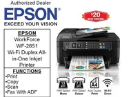 Epson WorkForce WF-2651 Wi-Fi Duplex All-in-One Inkjet Printer with ADF for Home office ** Free $20 NTUC Voucher Till 2nd Mar 2019 ** WF2651 WF 2651