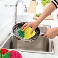 Jenanral 熱銷韓國創意 加厚不沾油 草莓造型洗碗巾 菜瓜布 洗碗布 絲光手勾  手工刮花 可掛 草莓 洗碗巾