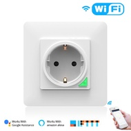 EU Plug Smart WiFi Wall Socket with USB Charger Switch Outlet Plug Works with  Alexa Google Assistant,Nest,No Hub Required