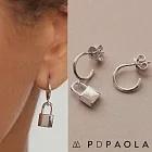 PD PAOLA 西班牙時尚潮牌 銀色鎖頭耳環 925純銀 BOND GOLD