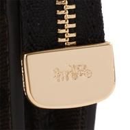 COACH- 金馬車拼色防刮皮革公事包造型手拿包/深咖.黑