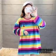【YOUNGBABY】刺繡櫻桃/檸檬彩虹條紋長上衣洋裝(共2色)