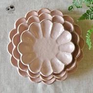 日本美濃燒 小兵製陶所 Rinka (Rokuro 六魯製造商)  淺花盤 桃練 粉紅色 餐盤 點心盤