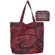 COACH酒紅迷彩紋尼龍折疊收納環保肩背托特包