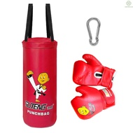 【E&L】 Kids Punch Bag and Gloves Boxing Hanging Punch Bag with Gloves Kick Boxing Bag and Training Gloves Youth Muay Thai Punching Bag Mitts Age 3 to 12 Years Old