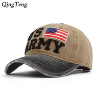 CROWDALE New Us Army Men'S Cap Washed Cotton Vintage Baseball Korean Version Cap Embroidered Letters Dad Hat Bone Casual Sun Hats Usa Flag Caps Spot Special