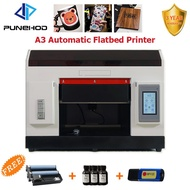 Punehod A3 UV DTG Led Flatbed Printer CISS Infrared Automatic Height Adjustment Printing Machine With Rotary Tray EU Sto