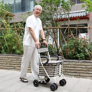 豪美佳 老年購物車折疊可坐老人手推車助行代步買菜車帶座椅輪子