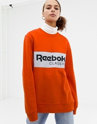 리복 Reebok Classics bright orange logo sweatshirt