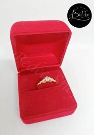 แหวนทอง ประดับเพชรเกรดดีมีประกายเหมือนเพชรจริง แหวนหมั้น แหวนแต่งงาน สำหรับ ผู้หญิง ชุบทองคำแท้ 100% หนาไม่ลอก