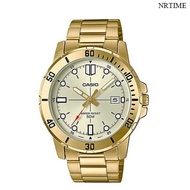 NRTIME CASIO Standard นาฬิกาข้อมือผู้ชาย สีทอง สายสแตนเลส รุ่น MTP-VD01G-9EVUDF MTP-VD01G-9E