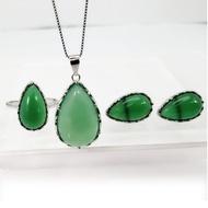 【Jpqueen】S925銀水滴型綠玉髓耳環戒指項鍊3件套組(綠色)