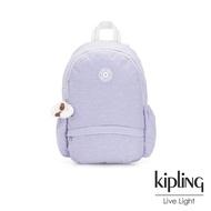 Kipling 法式丁香紫雙側鬆緊袋拉鍊後背包-CAMILA M