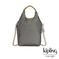 【KIPLING】邊緣地帶系列低調皮革金屬灰褐色肩背側背包-URBANA
