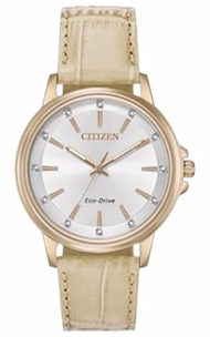 Citizen Ladies Rose Gold Stainless Steel & Beige Leather Eco-drive Watch