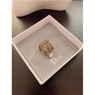 頂級原單 DIOR 迪奧 三環戒指 鑲鑽珍珠戒指