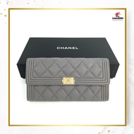 Chanel long wallet boy flap grain Calf A80286