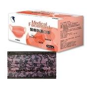 【久富餘】成人醫用口罩-雙鋼印-夢幻粉紅蕾絲(50片/盒X2-台灣製造)