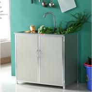 【一件免運  現貨】廚房鋁合金簡易櫥櫃 廚櫃 碗櫃 廚房櫃 不銹鋼水槽櫃 洗菜盆櫃 收納櫃