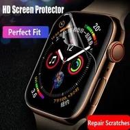 ฟิล์มนุ่มสำหรับ Apple Watch ตัวป้องกันหน้าจอ Series 6 5 5 5 5 5 5 Se 3 (กระจกนิรภัย) HD Protector Iwatch Band 44มม.40มม.42มม.38มม.