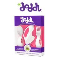英國Doddl 人體工學設計 嬰幼兒學習餐具組(三件組)-粉