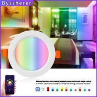 Byssherer Smart Downlight Tuya Zigbee 3.0 Smart Downlight 3.5 Inch App Remote Control RGB+CW Dimming Color 7W Led Recessed Ceiling Light Voice Control