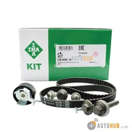 INA ชุดคิท สายพานราวลิ้นพร้อมรอก สายพานไทม์มิ่ง Ford Fiesta เครื่องยนต์ 1.4 1.5 1.6 รหัสเครื่องยนต์ RTJA HXJA HXJB จำนวนฟัน 117 ซี่ หน้ากว้าง 22 mm. (KIT SET) No.530049510