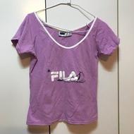 斐樂 fila 運動上衣 T shirt 短袖上衣 短版上衣 棉質上衣 v領上衣