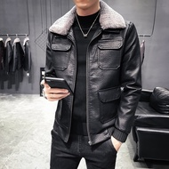 FINDSENSE品牌 秋冬季 新款 日本 男 高端  機車水洗皮衣 加厚  休閒修身 可脫卸領 外套  潮流上衣外套