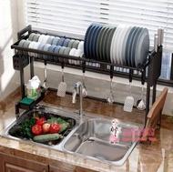 水槽置物架 伸縮304不銹鋼廚房水槽置物架放碗架碗筷瀝水架碗碟架水池收納架  -露露生活館 中秋節免運