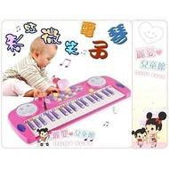 麗嬰兒童玩具館~彩虹微笑電子琴.桌上型教學37鍵電子琴附麥克風(藍粉)-超質推