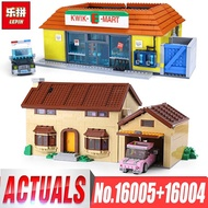 LEPIN 16005 the Simpsons House Lepin 16004 the Kwik-E-Mart Building Blocks Bricks Compatible  inglys