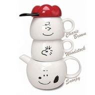 又敗家@日本MARIMO CRAFT史努比陶瓷泡茶壼茶杯組Tea for two史奴比水壼SNOOPY水杯子SPY-386(含濾網)查理布朗壼糊塗塌客杯MC.