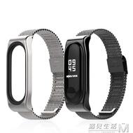 適用小米手環1代2代3代4腕帶NFC經典米蘭磁吸金屬錶帶配件米布斯 聖誕節全館免運