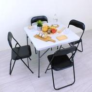 【美佳居】方形橋牌桌椅組/折疊桌椅組/麻將桌椅組/露營桌椅組-黑色(1桌4椅組)