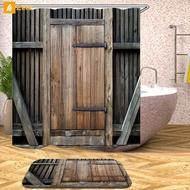 Barn Door Shower Curtain Decor Set Wooden Door Design Bath Curtains + 12 Hooks 『Zeer 』