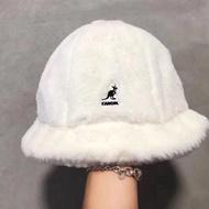 樂購吧 kangol袋鼠 兔毛毛毛盆帽子 刺繡 保暖白色毛絨皮草漁夫帽日系護耳帽