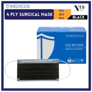 【BLACK】4Ply Medicos Colour 4Ply Surgical Mask (Black) ASTM 3 Topeng Medicos [Fast Shipping From KL]