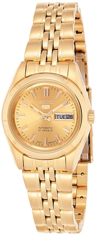 Women's SYMA38K Seiko 5 Automatic Gold Dial Gold-Tone Stainless Steel Watch
