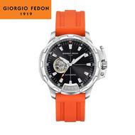 GIORGIO FEDON 1919 喬治菲登/ GFCK008 / 機械錶 自動上鍊 鏤空機芯 橡膠手錶 黑x銀框 45mm