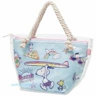 asdfkitty可愛家☆SNOOPY史努比藍色衝浪透明保溫保冷手提袋/便當袋/購物袋-日本正版商品