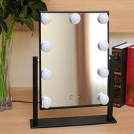 大號單面方形台式化妝鏡帶燈泡專業美容鏡高清梳妝LED鏡