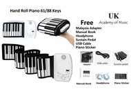 [Rechargeable & Ready Stock] 61 / 88 Keys silicone flexible hand roll piano / roll up piano soft digital piano keyboard